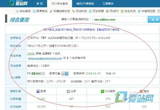 爱站网SEO综合查询工具的使用